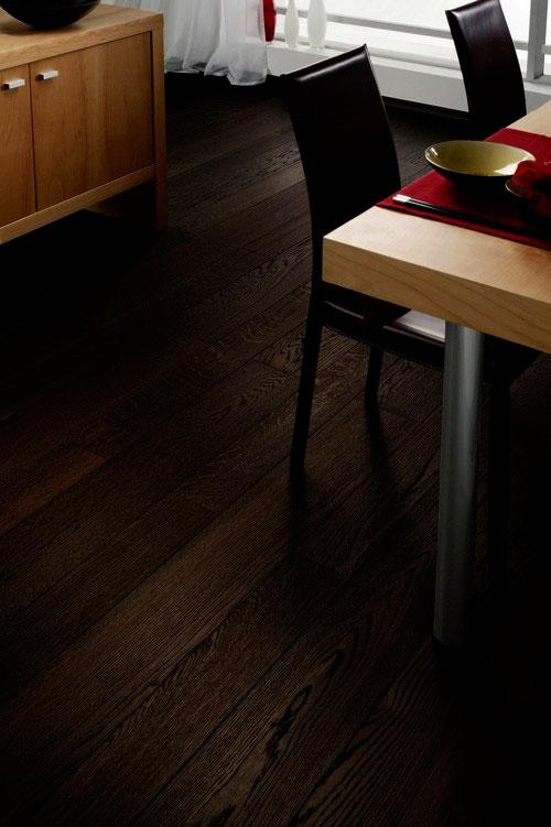 Parquet pour votre chambre ou séjour en bois, massif, contrecollé flottant ou stratifié en Chêne - Chêne contrecolle thermo-traité monolame foncé 120x13.5 - lot de 62.14m²