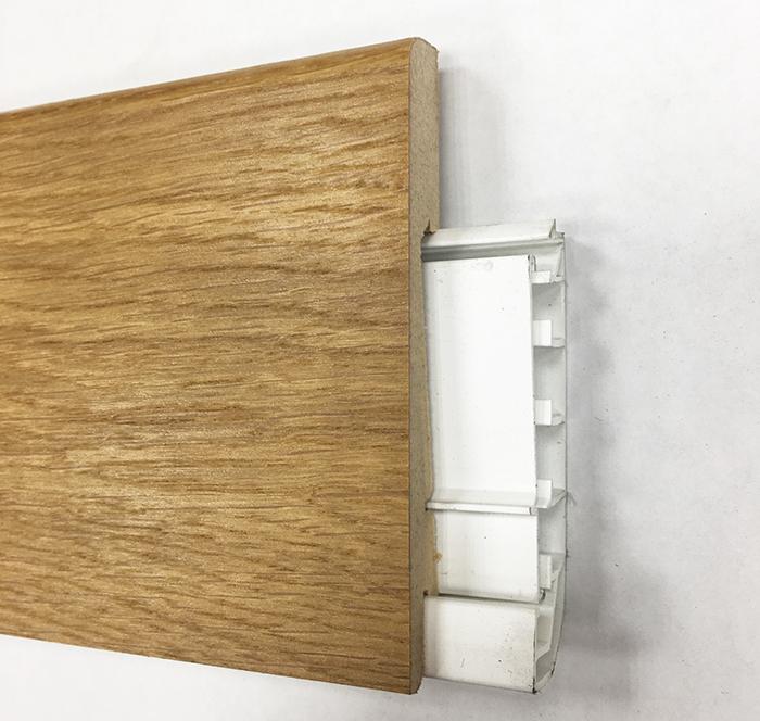 Plinthe de haute qualite - Plinthe electrique dinachoc avec goulotte placage chêne verni