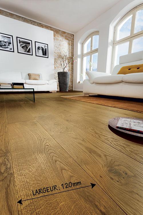 Chêne massif rustica plus huilé brossé noix 120x15mm - certifié pefc 70%