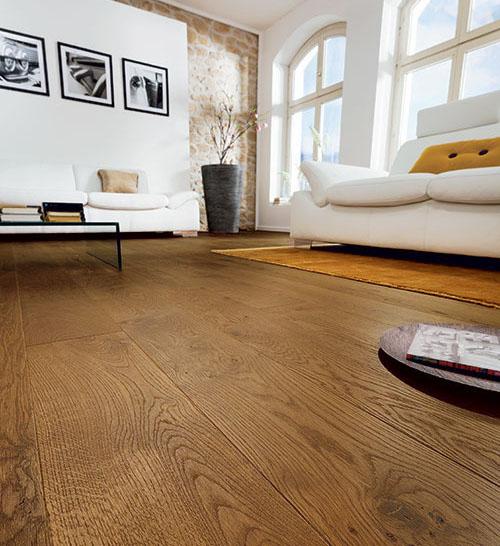 Parquet massif chêne huilé - Chene massif huile brosse marron gris vieilli 160x15mm certifié fsc 100 %<br />