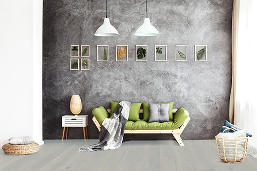 Parquet massif chêne huilé - Chene massif huile rustique brosse silver grey 120x15mm certifié fsc 100 %<br />