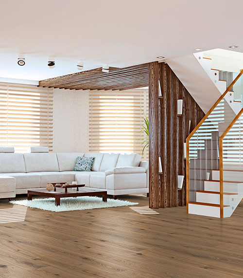 CHENE MASSIF HUILE RUSTIQUE BROSSE CASTEL BROWN 140x20mm- Certifié FSC 100 %<br />  - Prix-parquet.com