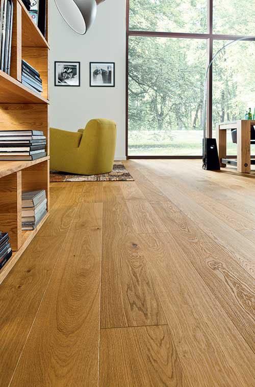 Parquet massif chêne verni - Chêne massif verni campagnard brosse pique 160x14 400-2100 - certifié fsc 100 %
