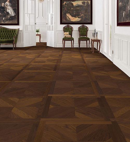 Parquet flottant chêne huilé - Dalle frene design central arabica mezzo -certifié pefc 70% (65x65 = 0.42m²) vendu par piece