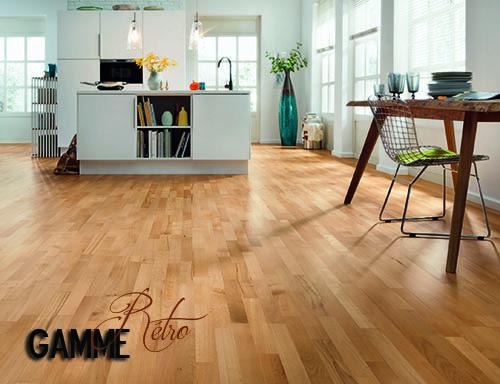Parquet pour votre chambre ou séjour en bois, massif, contrecollé flottant ou stratifié en Hêtre - Hetre elegance contrecolle verni 3 frises 202x14.5x2200
