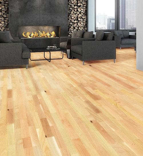 Parquet pour votre chambre ou séjour en bois, massif, contrecollé flottant ou stratifié en Hévéa - Hevea flottant doree verni lisse rustique 3 frises 190x13,5x1220mm