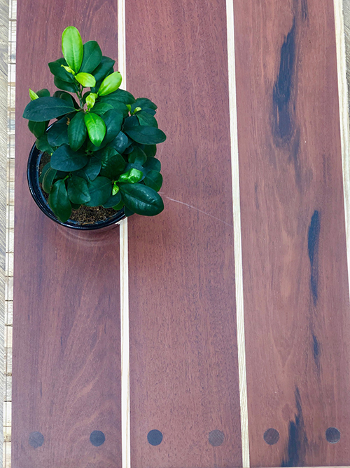 Parquet pour votre chambre ou séjour en bois, massif, contrecollé flottant ou stratifié en Jatoba - Jatoba contrecolle verni lisse monolame aspect pont de bateau chene et clou 145x14.5x1820