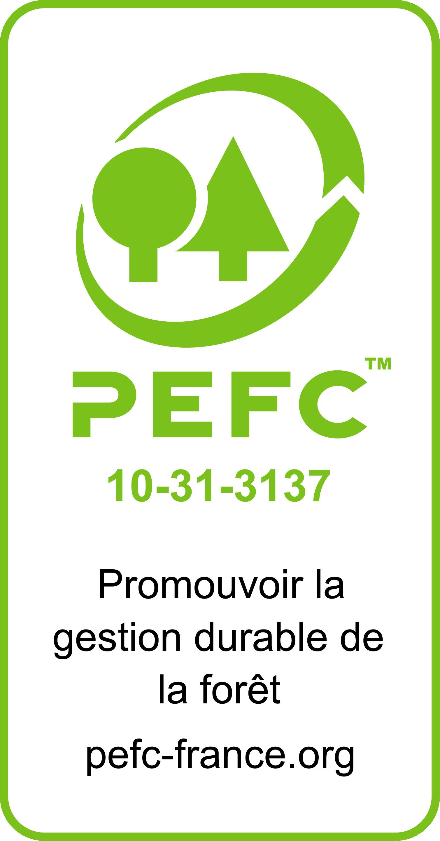Certification PEFC sur une majoritée de nos bois