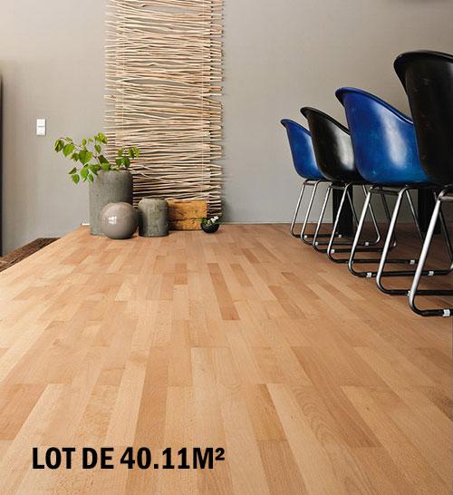 Parquet flottant chêne verni Hetre multiply rustique verni 3 frises 190x22x6mm de bois noble - lot de 40.11m² HETF36002 Parquet flottant chêne verni