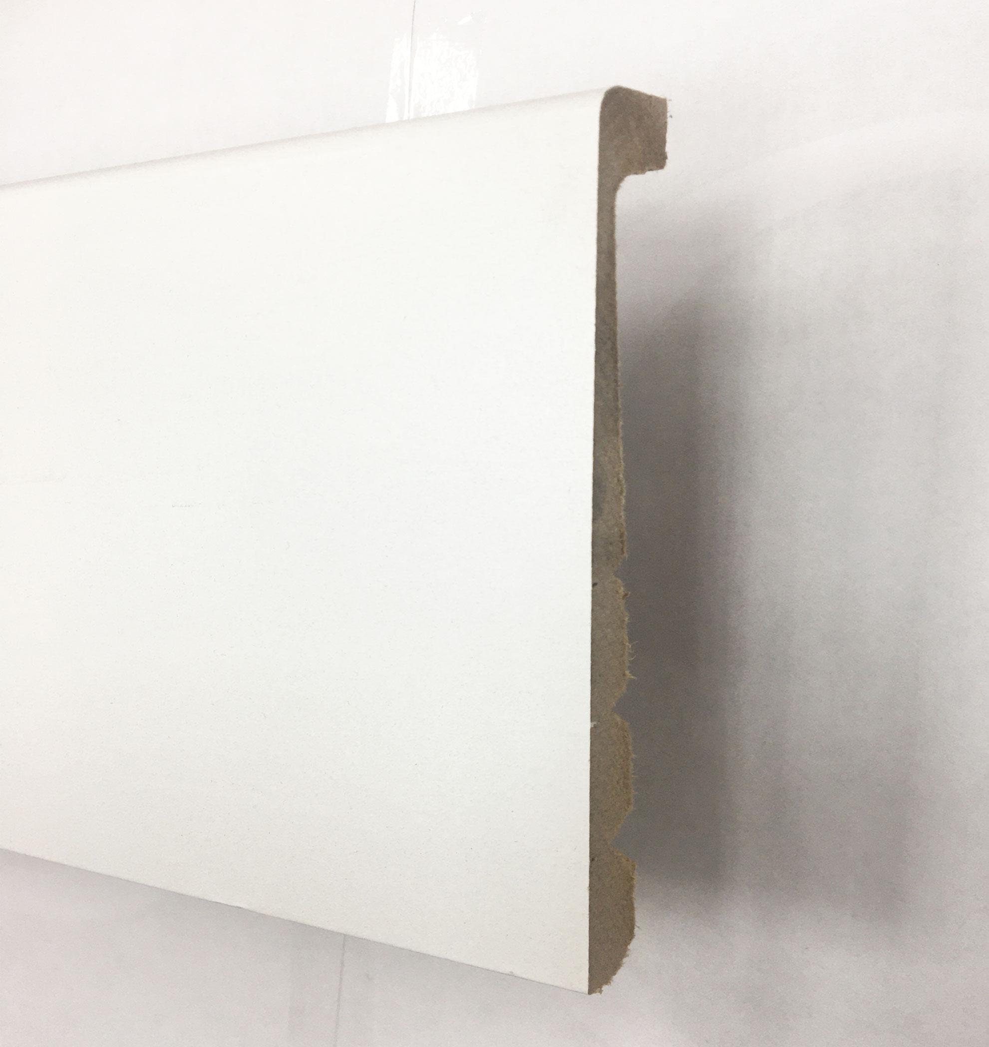 Plinthe de haute qualite - Surplinthe de renovation / cache plinthe / plinthe de recouvrement blanc satine a peindre 130x16x2200mm