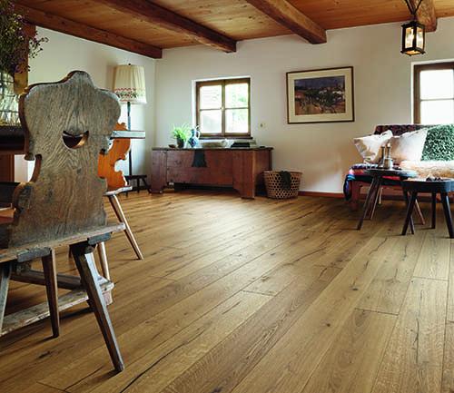 Parquet massif chêne huilé - Chêne massif huilé brossé safari 120x15mm certifié fsc 100 %