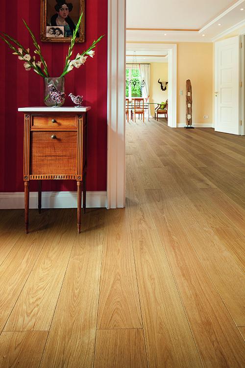 Parquet massif chêne verni - Chêne massif verni brosse pr/select 160x14mm - go-4 - certifié fsc 100 %