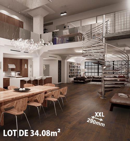 Lots fin de série parquet - Chêne multiply rustique huilé fumé foncé 290x22x6mm de bois noble + lot de 34.08m²