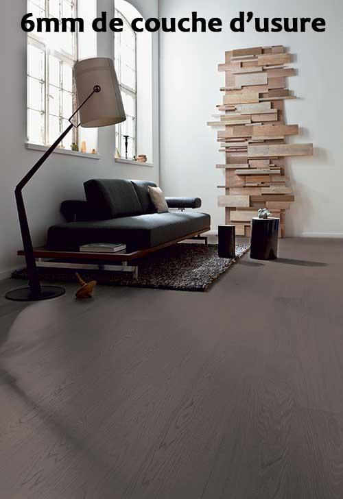 Lots fin de série parquet - Chêne multiply huilé gris etna - 6mm bois - lot de 9.66m²<br />