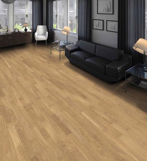 Parquet flottant chêne verni - Baton rompuchene contrecolle decoart authentique aspect bois brut lisse 70x10mm (compatible avec sol rafraîchissant) - certifié pefc 70%