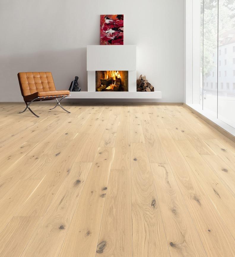 Parquet flottant chêne verni - Parquet chene contrecolle authentique vernis aspect bois brut brosse 180x12mm – gamme decoart - certifié pefc 70%