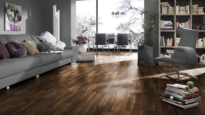 Krono dynamic - Parquet sol stratifie decoart - walnut 3 frises - gamme atlanta - 1380mmx193mmx8mm - certifié fsc mix credit
