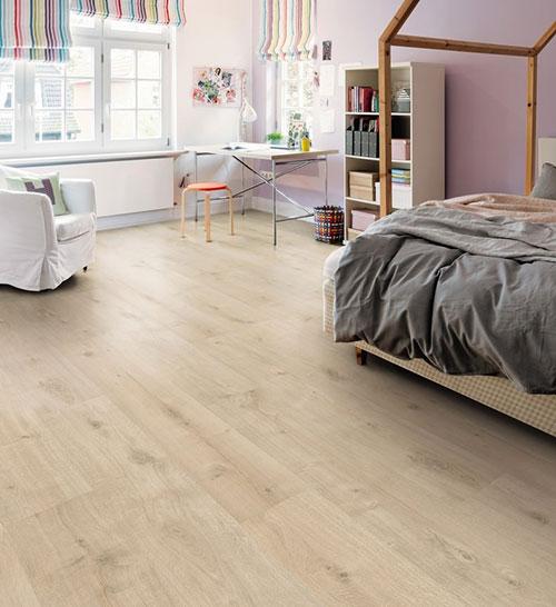 Parquet stratifié décor bois - Sol stratifie decoart chene siena blanc velours planche l - asbana