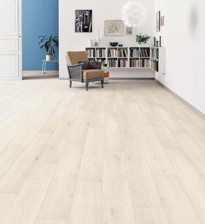 Parquet stratifié décoart rimini planches larges  plaza - Sol stratifie decoart chêne emilia blanc authentic softplanche l - remini
