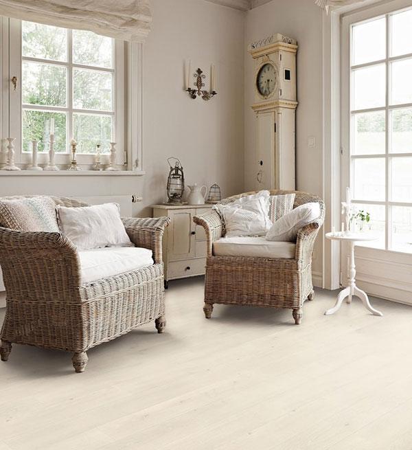 Parquet stratifié bergame loft décoart - Sol stratifie decoart chêne emilia blanc authentic soft planche m - gamme bergame
