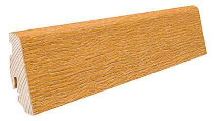 Plinthe de haute qualite - Plinthe bois massif plaque verni mat chene brosse 58x19x2200mm a enclipser