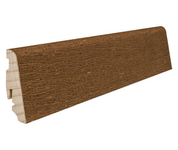 Plinthe de haute qualite - Plinthe bois massif plaque chene marron muscade huilee 58x19x2200mm a enclipser