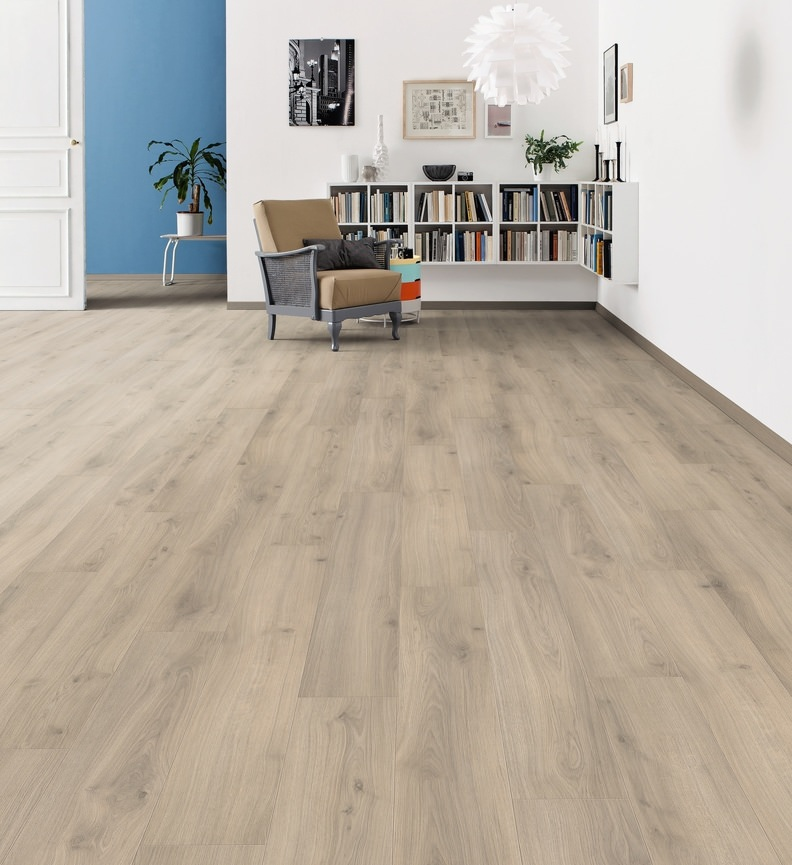 Parquet stratifié tritty 100 lc plaza - Chêne emilia brun gris  planche large tt100 authentique soft