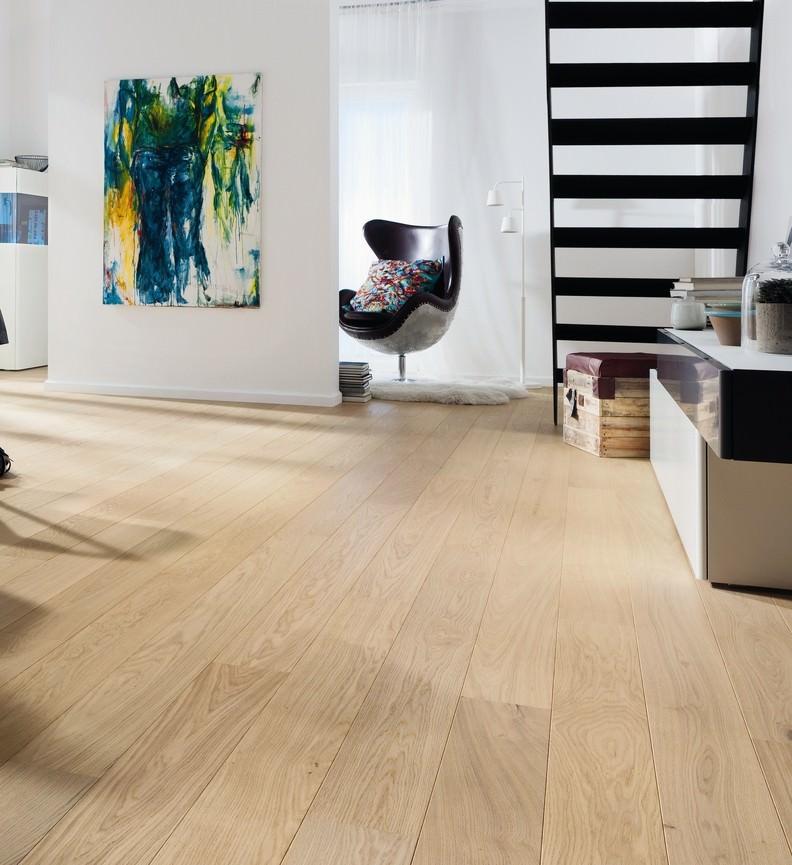 Parquet flottant chêne huilé - Chêne contrecollé planche large scala puro blanc rustique - serie 4000- brossé 2v-certifié pefc 70%