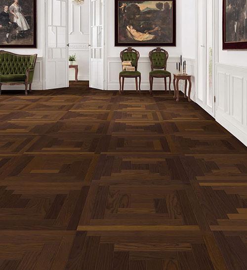 Parquet flottant chêne huilé - Dalle frene design loop arabica mezzo -certifié pefc 70% (65x65 = 0.42m²) vendu par piece