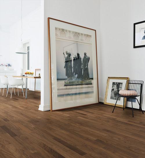 Parquet flottant chêne verni - Noyer fume contrecolle verni lisse 3 frises rustique go-0 190x14,5x910-1820mm