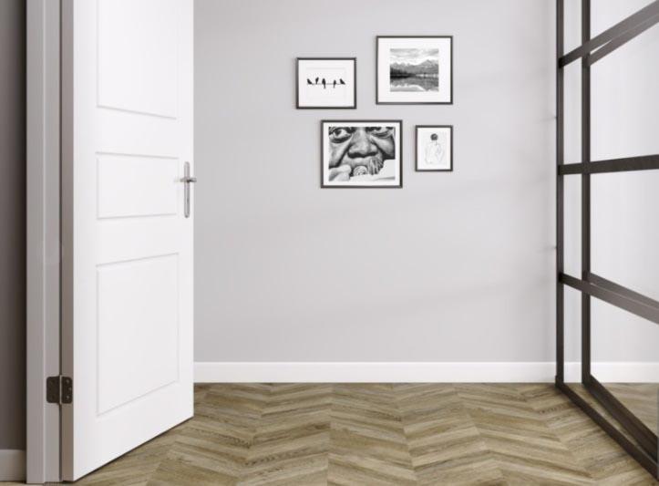 Sols stratifiés decor bois large - POINT DE HONGRIE ASPECT CHÊNE BRUN FUME AC6 PASSAGE TRES INTENSIF - Certifié PEFC 100%
