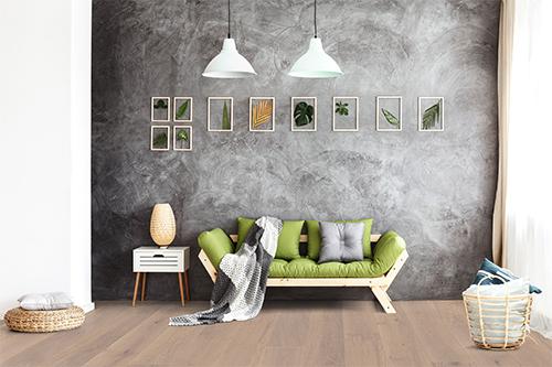 Parquet flottant chêne verni - Chêne contrecolle pr bis verni brosse pierre sablé xxl 180x13.5x1750mm
