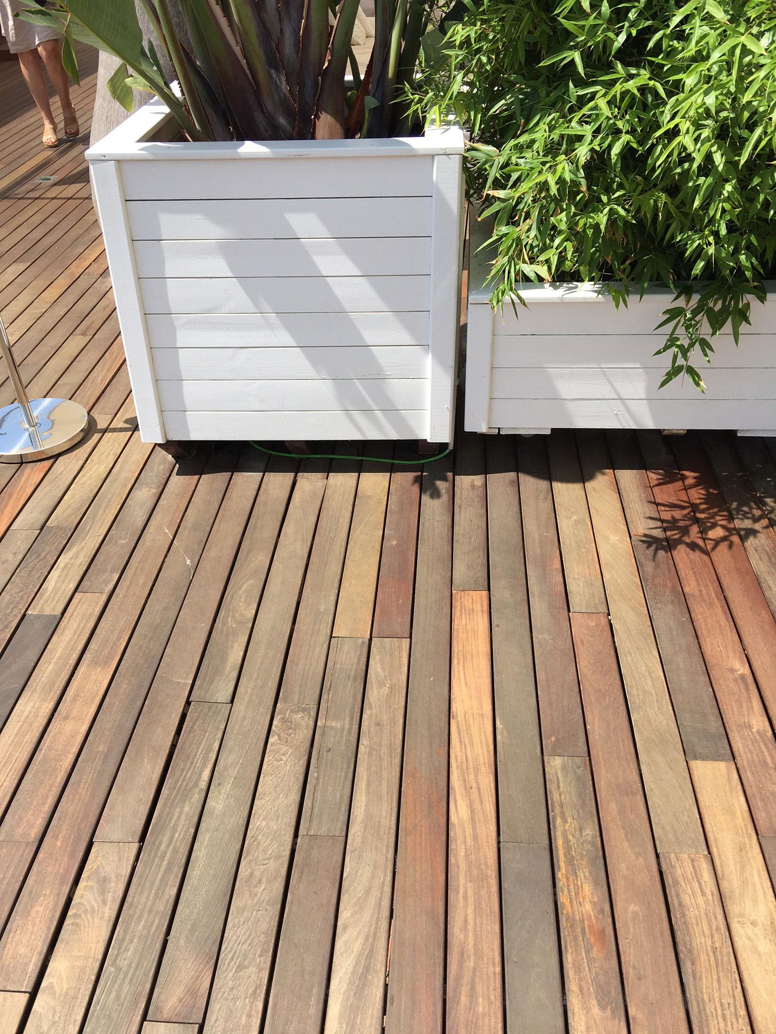 Parquet extérieur lames de terrasse bois massif - Lame de terrasse daisy ipe brut deck clipsable 1 face lisse 140x19x l600mm
